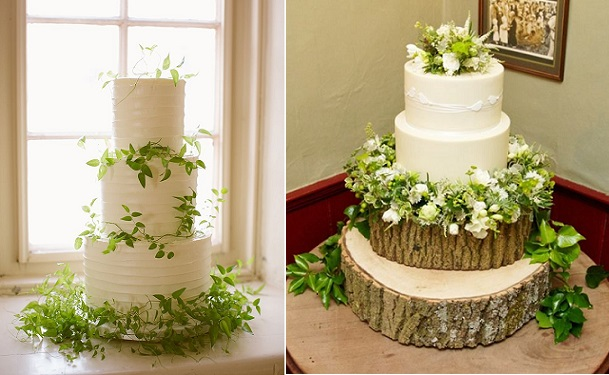 woodland wedding cakes by Bobbette & Belle left, photo Rebecca Wood, Krumblies right, flowers by Bramble & Berries