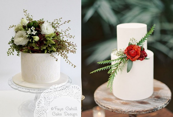 woodland wedding cakes by Faye Cahill left and image right by Melanie Gabrielle Photography via Ruffled