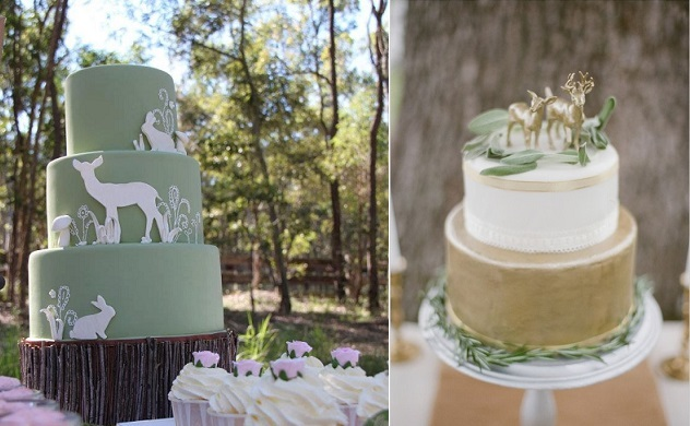 woodland wedding cakes via Pinterest left and  image right by Live View Studios via Wedding Chicks