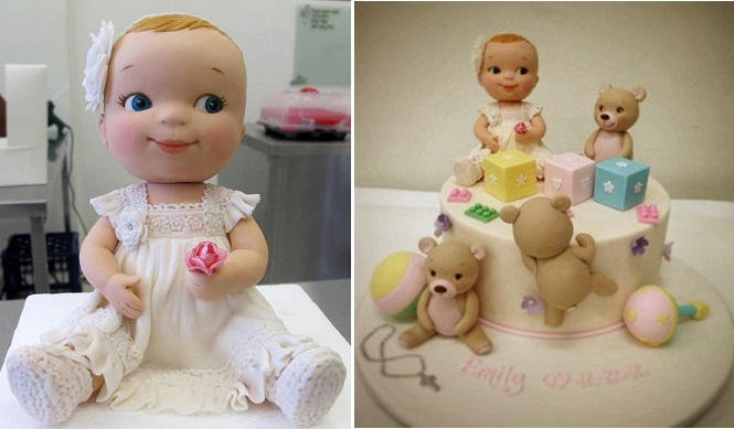 baby girl model baby cake topper by Handi's Cakes