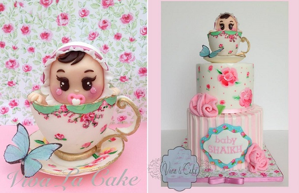 baby in a teacup cake by Viva La Cake