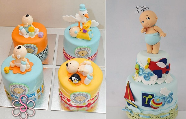 baby models baby cake toppers by Sachi Cakes left, Tortas Monica Peru right