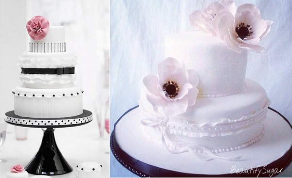 banded frill cake designs by Zoe Clark left, Beautify Sugar right