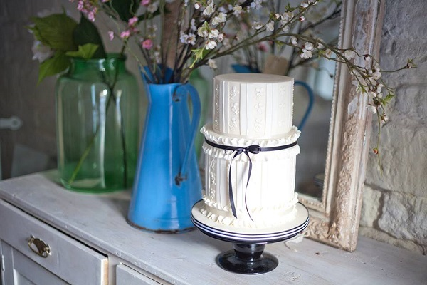 banded frill cake fabric effect by Emily Harmston Cakes