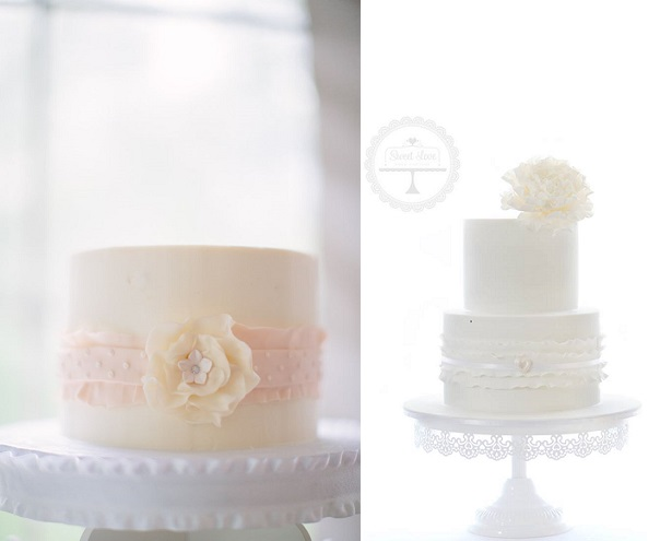banded frill cakes by Sugar Jones Cake left (Jacqui Cole Photography),  Sweet Love Cake Couture right