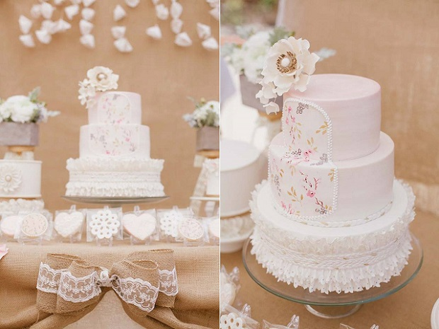 banded frill wedding cake fabric effect by La Cupella Cake Boutique
