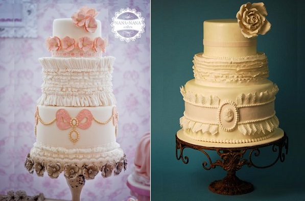 banded frills cake designs smocking fabric effects, Nana & Nana left, Gia's Cakes Boutique right