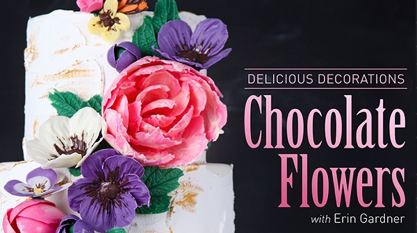 chocolate flowers tutorial by Erin Gardner on Craftsy, sculpted chocolate flowers
