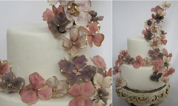 1 gold edged sugar flowers wedding cake by Cakes in Art