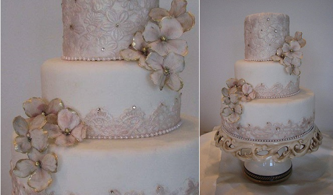2 gold tipped sugar flowers wedding cake by Cakes in Ar