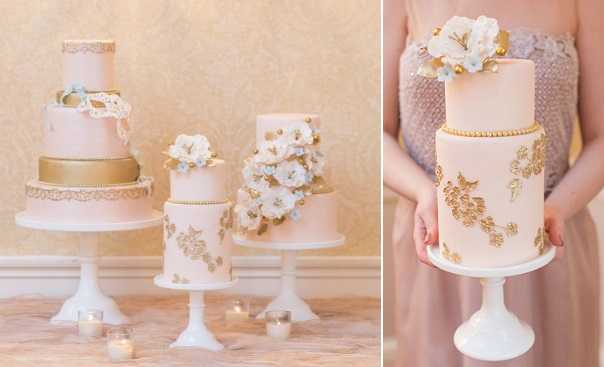2 metallic gold lace wedding cake by Elegantly Iced via Style Me Pretty, photo by Charlie Juliet
