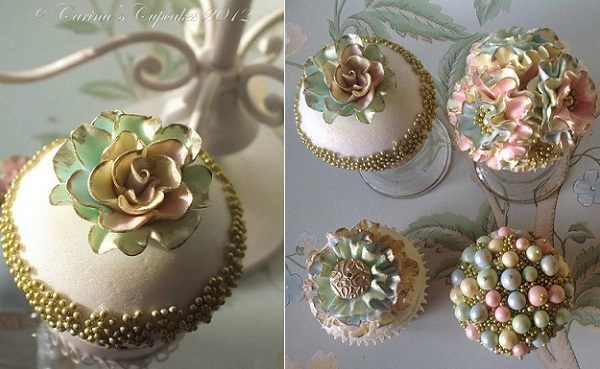 5 antique gold and mint cupcake by Carina's Cupcakes