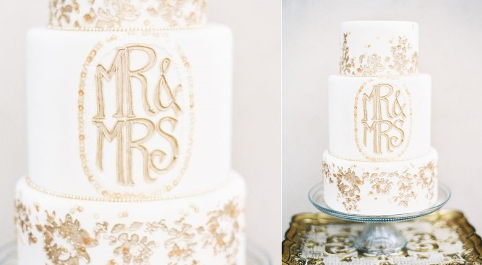 8 gold flaked wedding cake via Elizabeth Anne Designs