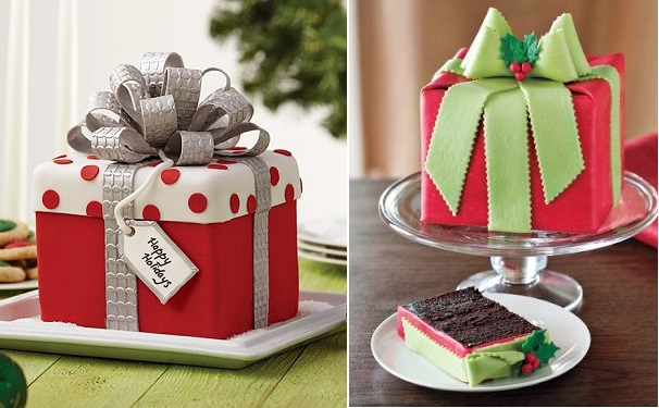 christmas gift box fondant cake with bow by Wilton left, via Pinterest right