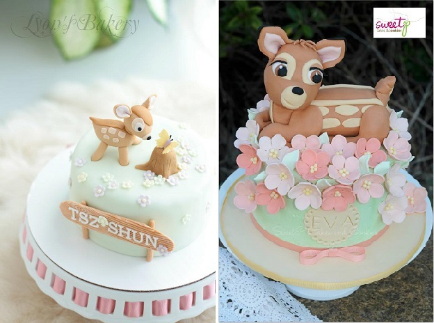 baby deer cakes, Bambi cakes by Lyon's Bakery left and Sweet P Cakes & Cookies right