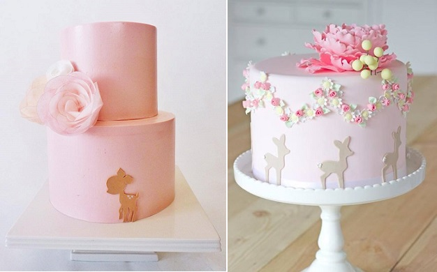 baby deer cakes, Bambi cakes by Tuff Cookie Cakes, left & Petite-Homemade right