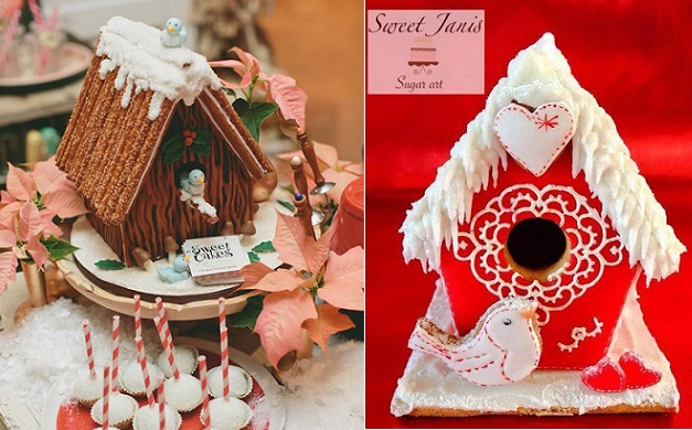 birdhouse cakes Christmas gingerbread by Sweet Cakes by Rebecca left, Sweet Janis Sugar Art right