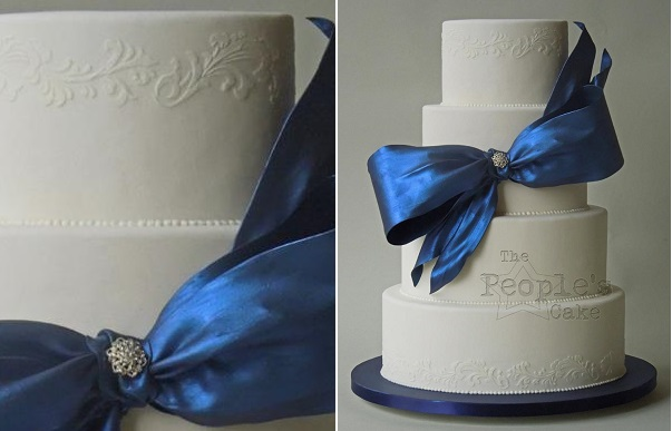 bow wedding cake navy blue by The People's Cake