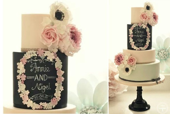 chalkboard wedding cake by Cotton & Crumbs