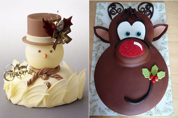 chocolate christmas cakes via Pinterest left and Cake Central right