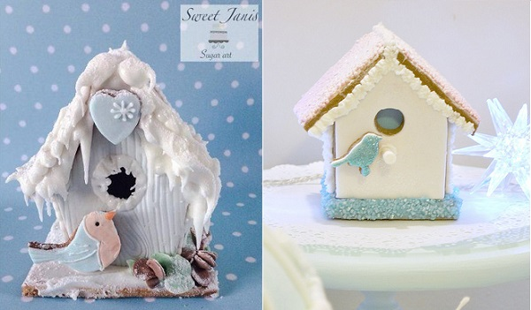 christmas birdhouse cake gingerbread by Sweet Janis Sugar Art left, Torie Jayne right