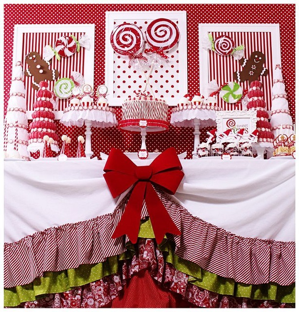 christmas dessert table, candyland christmas dessert table via Kara's Party Ideas