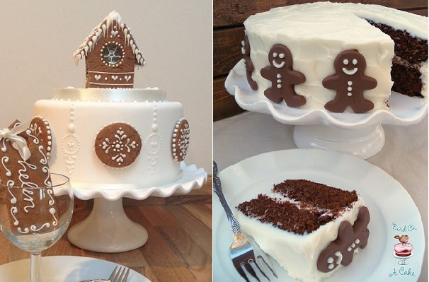 christmas gingerbread cakes by Bath Baby Cakes left and Bird On A Cake right