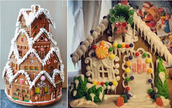 christmas gingerbread house by Pretty Sweet Treats by Nancy right, tiered gingerbread cake left via Pinterest