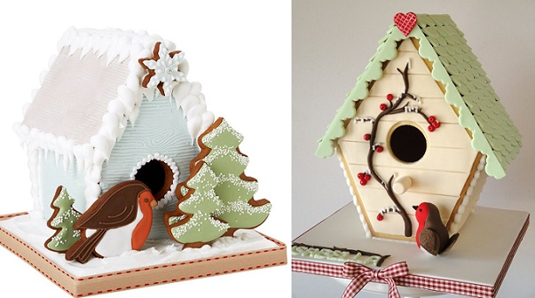 gingerbread birdhouse cakes Christmas by Peggy Porschen left, Magical Cakes NZ right
