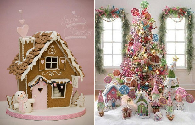 gingerbread house christmas by Torte Jagode in Dinozavri left and candyland christmas cake in gingerbread right via Pinterest