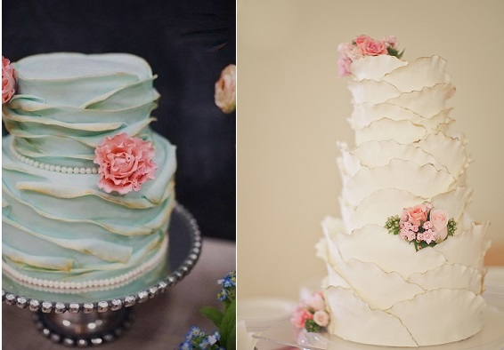 gold tipped frill wedding cake by Steel Penny Cakes maybe left, by CAKE, Orange Turtle Photography via Project Wedding right