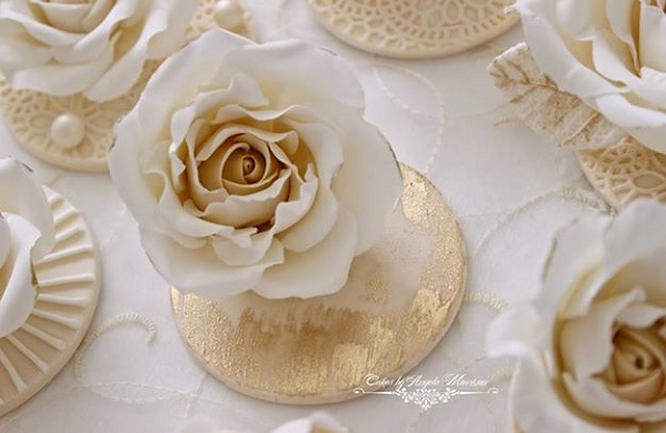gold wash cupcake toppers by Cakes by Angela Morrisson