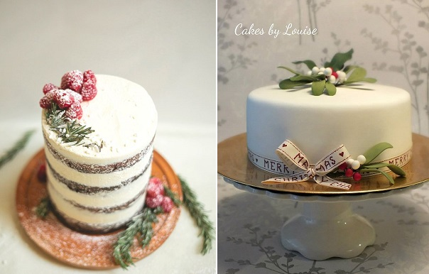 mistletoe cake by Cakes by Louise right, rustic christmas cake winter berries cake left via Pinterest