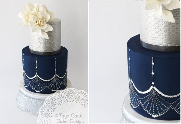 navy wedding cake art deco by Faye Cahill, inspired by a Jenny Packham gown