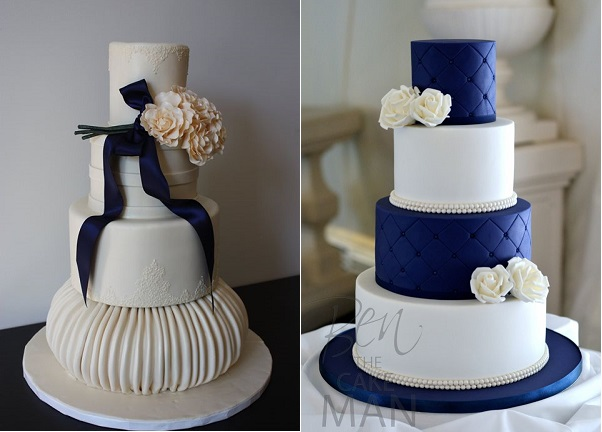 navy wedding cakes by The Sugar Suite, FL left  & by Ben The Cake Man UK right