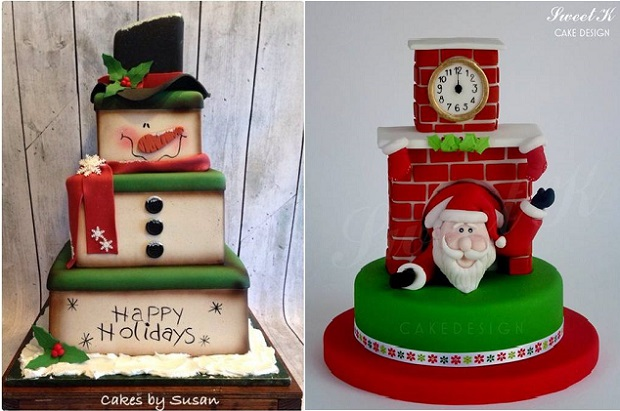 novelty christmas cakes for children by Cakes for Susan left, Sweet K Cake Design right