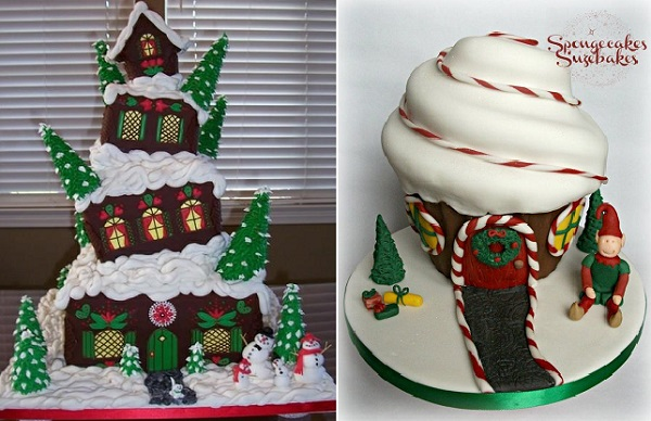 novelty christmas cakes by Spongecakes Suzebakes right and via Pinterest left