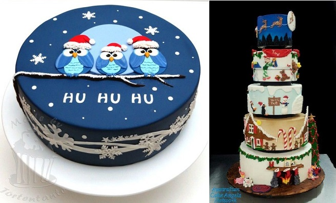 novelty christmas cakes by Tortentante left, John R Titus, Cake Angels AU, right
