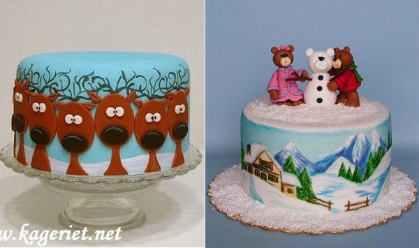 novelty christmas cakes from Kageriet.net left and Bubolinkata Cakes right