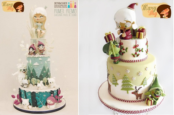 pastel christmas cakes by Mary Way
