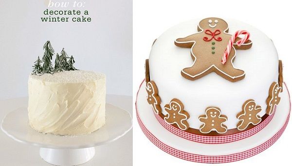 rustic christmas cakes from Freutcake.com left, Peggy Porschen right