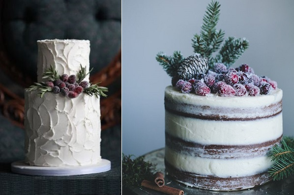 rustic christmas cakes winter berry cakes from Pinterest left, Call Me Cupcake right