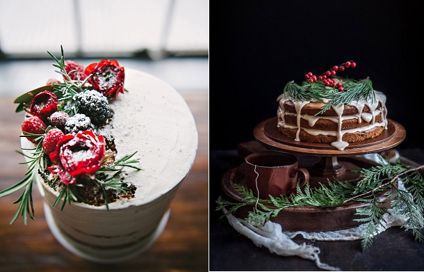rustic christmas cakes winter cakes by Cakewalk Bakeshop, Nicole Berrett Photography left,  Adventures in Cooking right