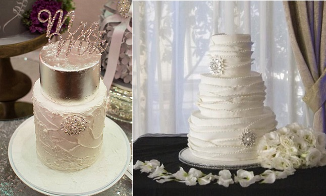 snowflake wedding cakes with snowflake brooches bySweet Bea's, Bella in Bloom Photography left, Fantasy Frostings right