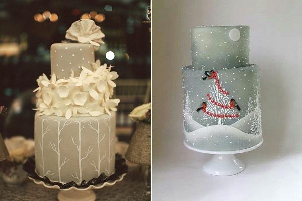 1. grey and white wedding cake via Wedding Chicks left, image right via Pinterest