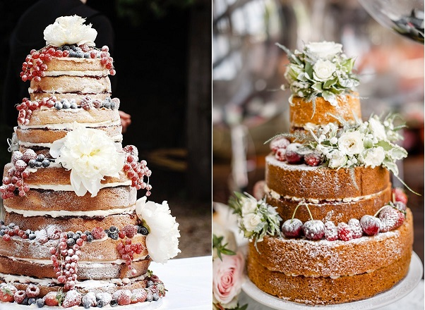 winter berry naked wedding cakes with images from Pinterest left, French Made right