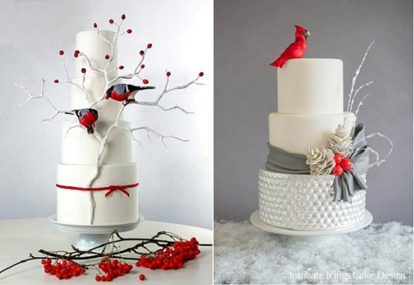 3. winter wedding cakes by Floralilie left, Intricate-Icings left-Murcury-glass-Christmas-cardinal
