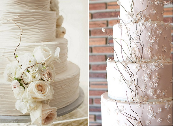 rustic winter wedding cakes by The Pastry Studio right, image left via Style Me Pretty