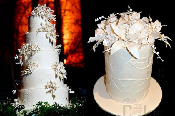 9. winter wedding cake with sugar jasmine by Cakes by Krishanthi, Brett Harkness Photography, right Leesa Collins of Alice Cakes