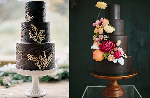 Chocolate wedding cake by Sweet & Saucy, Scott Michael Photography left, Jonathan Caleb Cake, Lime Green Photography right